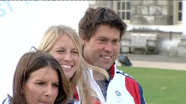 team gb sailing team unveiled england london greenwich ext olympic sailing team gb members pose for photocall holding union flag lr iain percy annie... - sailing team stock videos & royalty-free footage