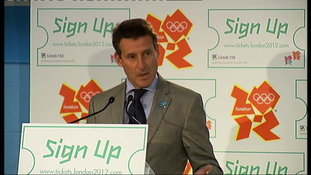 ticket prices announced press conference lord coe along to stage with paul deighton and boris johnson and hugh robertson mp lord coe speech sot... - cent sign stock videos & royalty-free footage