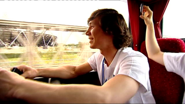 'two years to go' event london stratford olympic park ext marcus mepstead interview sot marcus meepstead on coach as approaching olympic park site... - hoy stock videos & royalty-free footage