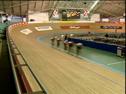 london 2012 olympic games: velodrome plans unveiled; date unknown manchester: cyclists around track of former commonwealth games velodrome - commonwealth games stock videos & royalty-free footage