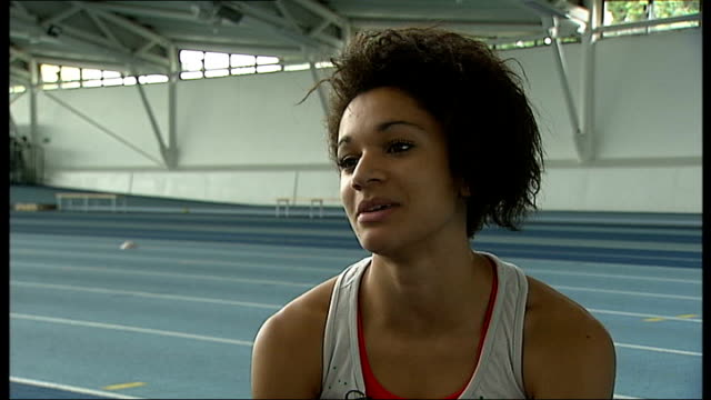 young hopefuls england london lee valley athletics centre jodie williams preparing to run on track with interview overlaid sot jodie williams... - crumb stock videos and b-roll footage