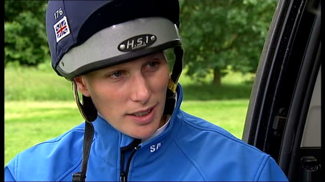 london 2012 olympic games: zara phillips named in the british equestrian squad; phillips interview sot / phillips holding horse on rein / phillips... - zaum stock-videos und b-roll-filmmaterial