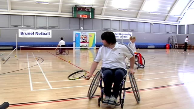 launch of paralympic pre-games training camp guide at brunel university; england: london: brunel university: int various shots of male and female... - sportlerin stock-videos und b-roll-filmmaterial