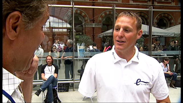 french paralympic team arriving at st pancreas station danny crates interview sot / general view of st pancreas concord including eurostar train into... - pancreas stock videos and b-roll footage