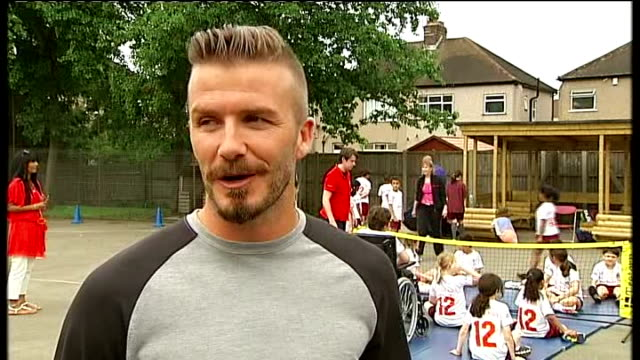Paralympic ambassador David Beckham visits London school ENGLAND London EXT Beckham interview SOT it was amazing from the moment I walked in and the...