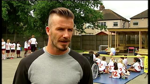 Paralympic ambassador David Beckham visits London school David Beckham interview SOT
