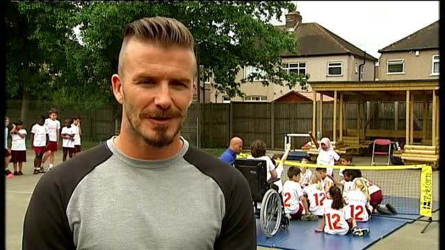 Paralympic ambassador David Beckham interview ENGLAND Middlesex Harrow EXT David Beckham interview SOT