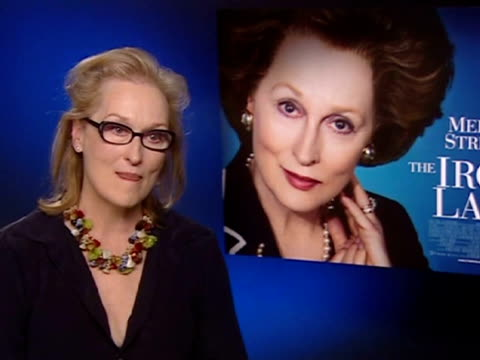 """london, 5 jan .- meryl streep, who plays margaret thatcher in the new film """"the iron lady,"""" said in an interview that she thinks that the... - メリル・ストリープ点の映像素材/bロール"""