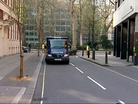 conspirators remanded in custody england london westminster magistrates' court ext police van arrives at court - itv weekend evening news点の映像素材/bロール