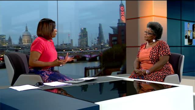 london accounts for over half the uk cases of female genital mutilation adoa kwatengkluvitse live studio interview sot - mutilazioni genitali femminili video stock e b–roll