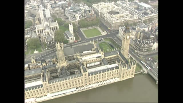 city of westminster; england: london: ext air view shots including houses of parliament, lambeth palace and trafalgar square. - city of westminster london stock videos & royalty-free footage