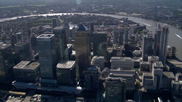 london aerials of canary wharf - general view stock videos & royalty-free footage