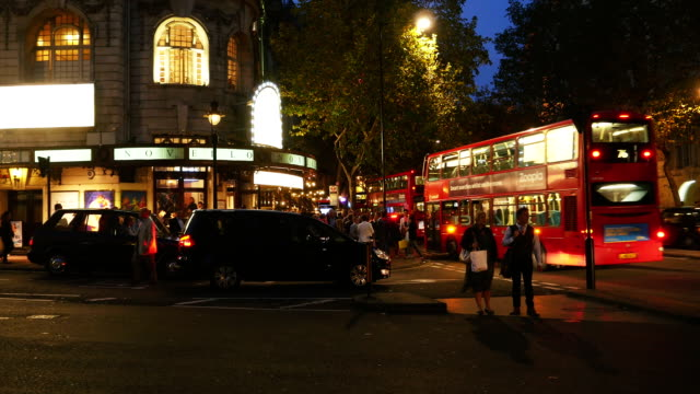 london aldwych and novello theatre at night (4k/uhd to hd) - aldwych theatre stock videos & royalty-free footage