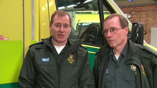 twin paramedics retire after 28 years uk london chris mccarthy and mark mccarthy answering callout in ambulance and interviews brian wilson interview... - communication stock videos & royalty-free footage