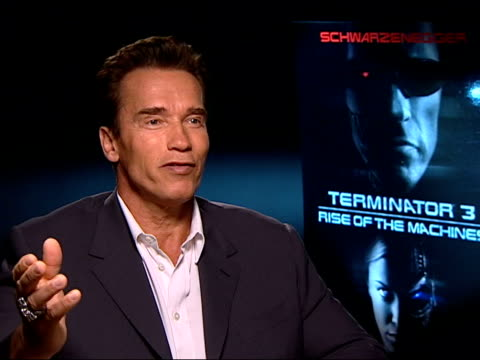 London Arnold Schwarzenegger interviewed SOT Even if I go into politics I can always go back to movies afterwards/ haven't decided if going into...