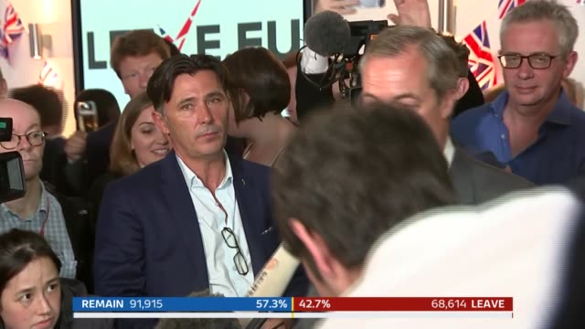 london: arrival of nigel farage at leave.eu party nigel farage mep speech sot - tonight whatever the result is not one for recriminations but for a... - nigel farage stock videos & royalty-free footage