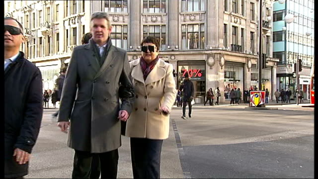 London Assembly members take part in experiment to help improve safety for visually impaired pedestrians ENGLAND London Oxford Street EXT Richard...