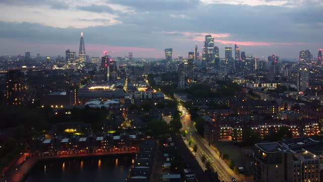 london at night from a high angle viewpoint over shadwell basin - establishing shot stock videos & royalty-free footage