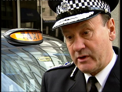 Attacks by unlicensed taxi drivers ITN Sir John Stevens interview SOT Talks of police operations against unlicensed cab drivers