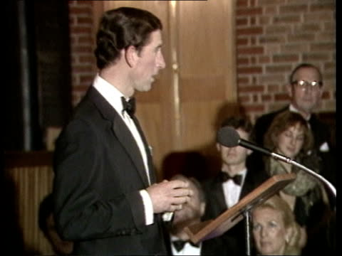 england london barbican ms princess of wales and prince charles out of car greeted and in barbican cs diana listening to charles' speech ms prince... - mstislav rostropovich stock videos & royalty-free footage