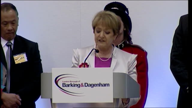barking barking margaret hodge mp speech sot a great moment in our history / voters faced a stark choice / they have chosen to support democratic... - margaret hodge stock videos and b-roll footage