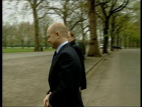 london: battersea park: ext conservative leader william hague long towards conservative campaign advans gv advans cf = b0461376 or b0461375 20.14.24... - battersea park stock videos & royalty-free footage