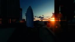 London beautiful timelapse sunrise over The Gherkin, Swiss Reinsurance Headquarters, drone fly 4K