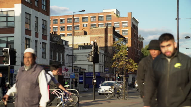 london bethnal green road street scene - road signal stock videos & royalty-free footage