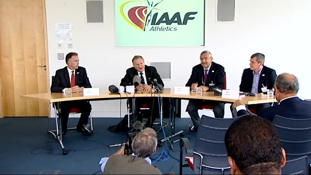 london bid for 2017 world athletics championships track to stay at olympic stadium int robert hersh speaking at iaaf athletics press conference sot... - championships stock videos & royalty-free footage