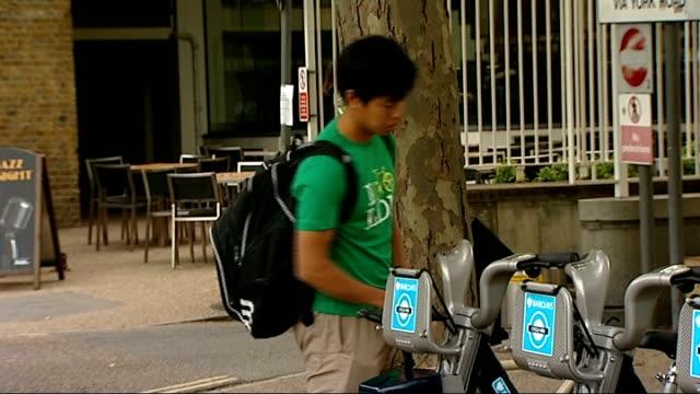 london bike hire scheme: boris johnson and marcus agius photocall; england: london: waterloo: ext london bicycle hire scheme bikes parked in bike... - new hire stock videos & royalty-free footage