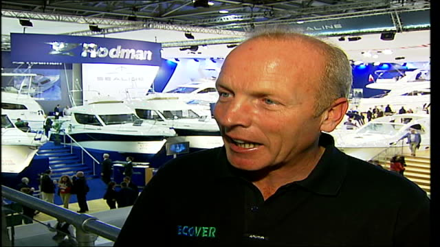 East London ExCeL Exhibition Centre London Boat Show INT Mike Golding interview SOT On how he had to rescue his competitor Alex Thomson during the...