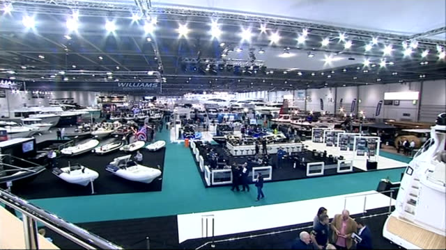 london excel centre int pop singer nicole scherzinger introduced onto stage at opening event of 2015 london boat show various shots of boats on... - london boat show stock videos and b-roll footage