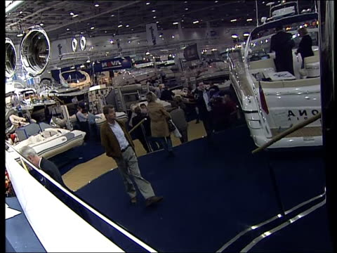 London Boat Show Exhibition 2007 ENGLAND London Docklands Excel Centre INT General views of Avon rigid inflatable boats on display / Large cabin...