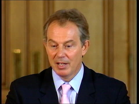 party leaders meet to discuss new antiterror legislation 10 downing street tony blair walks into room and to podium for press conference ms tony... - posture stock videos and b-roll footage