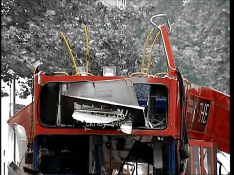 Bus bomb victim Anat Rosenberg CUTAWAY Tavistock Square SEQUENCE bomb damaged No 30 bus