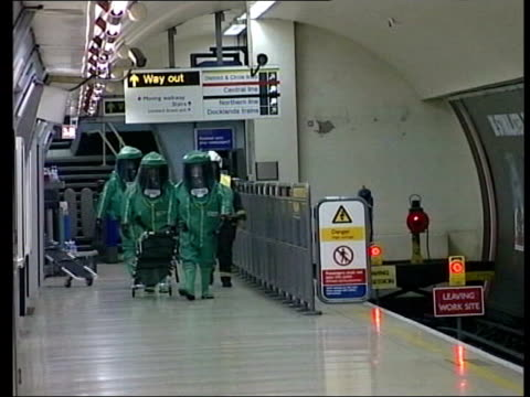 channel 4 news special: 19.00 - 19.30; tx emergency services taking part in anti-terrorist exercise at bank london underground station bank london... - terrorism stock videos & royalty-free footage