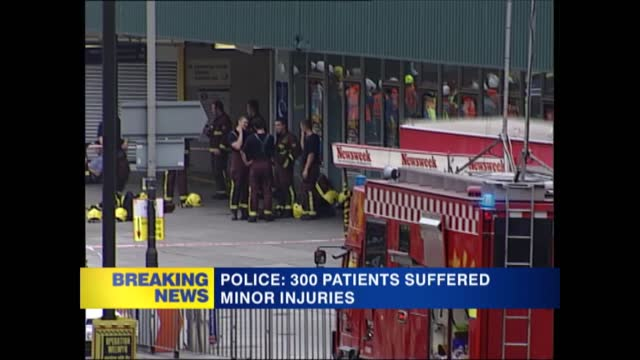 news openender 17.30 - 18.30; 17.59 england: london: gir: int andrea catherwood / steve scott live studio ext gvs front view of wreckage of number 30... - hospital trolley stock videos & royalty-free footage
