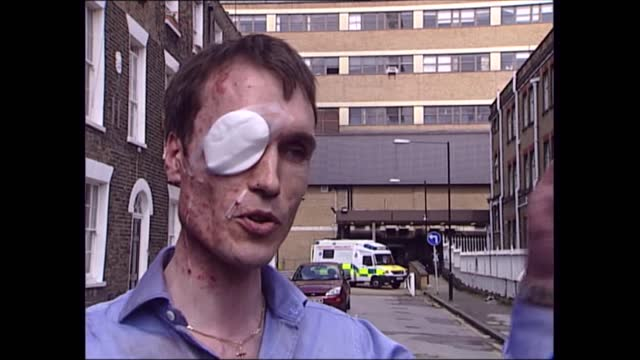 news openender 17.30 - 18.30; england: london: ext eyewitness interview sot - there was a large bang, people were physically ejected out of their... - bright stock videos & royalty-free footage