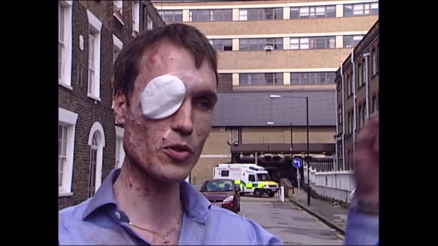 news openender clean feed: 17.30 - 19.00; england: london: ext eyewitness interview sot - there was a large bang, people were physically ejected out... - bright stock videos & royalty-free footage