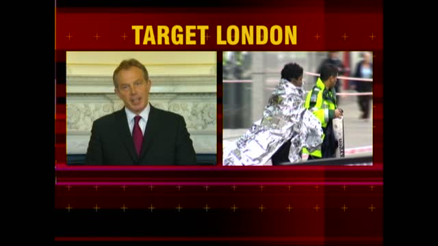 news openender clean feed: 17.30 - 19.00; england: london: int split screen graphic tony blair speech sot - [this has been a most terrible and tragic... - news event stock videos & royalty-free footage