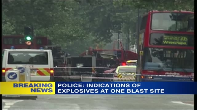 stockvideo's en b-roll-footage met itv news special 1130 1230 itn 1149 yanif forma phono over following seq road outside station tavistock square gvs mangled wreckage of double decker... - phono engels woord