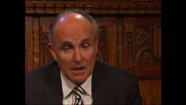 news special: clean feed 21.00 - 23.00; england: london: gir: int sir trevor mcdonald i/c england: london: int cms rudolph giuliani interview sot -... - studying stock videos & royalty-free footage