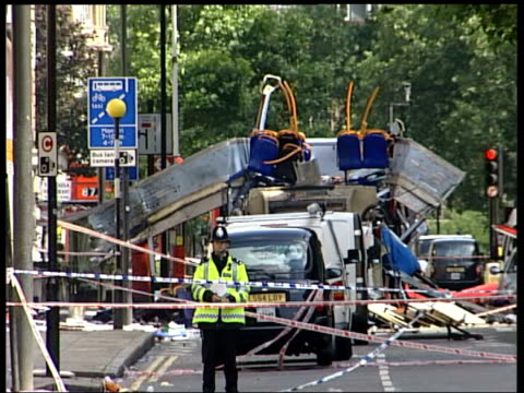 Russell Square tube station BV Wreckage of No30 bus in cordonned off area