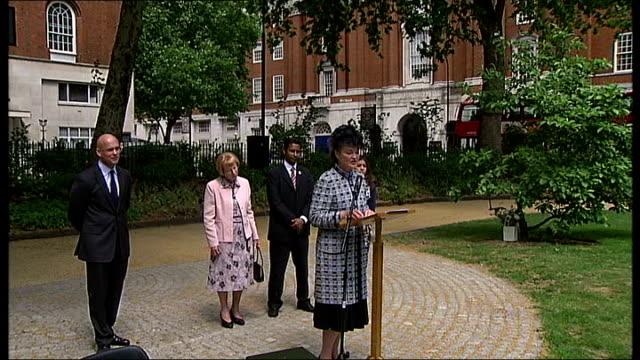 Tavistock Square reopening ceremony Henrietta Duchess of Bedford speech SOT Henrietta Duchess of Bedford cuts ribbon to officially reopen refurbished...