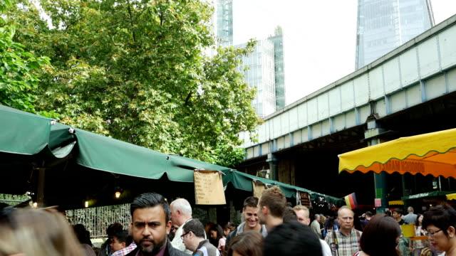 London Borough Outdoor Market Tilt Up (4K/UHD to HD)