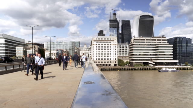 london bridge and city of london skyscrapers - bridge built structure stock videos & royalty-free footage