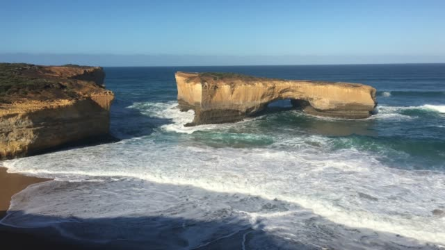 london bridge at port campbell national park great ocean road in victoria australia - port campbell national park stock videos & royalty-free footage