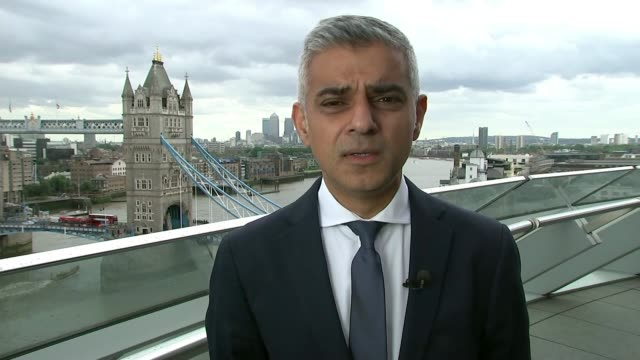 debate over police numbers and use of firearms england london ext sadiq khan 2way interview from city hall sot not in favour of all police officers... - sadiq khan stock videos & royalty-free footage