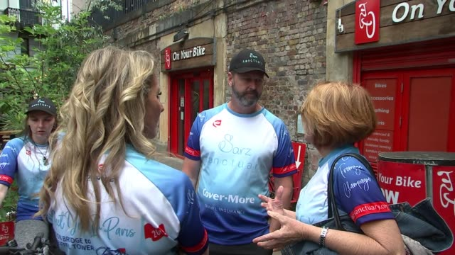 family of victim cycling to paris to raise money england london borough market ext various of julie wallace and mark wallace chatting to cyclists... - bodyweight training stock videos & royalty-free footage