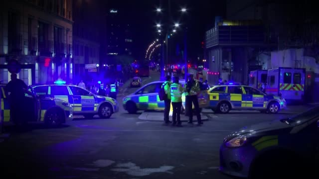 further tribues paid to victiums / survivors speak out 462017 london bridge london bridge attack aftermath police and ambulances on london bridge - london bridge england stock videos & royalty-free footage
